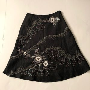 Ann Carson Floral Embellished Skirt Size 4